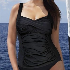 Swimsuits For All Twist Front Tankini Black Sz 28